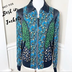 NWOT Coach Silk & Leather Floral Varsity Bomber